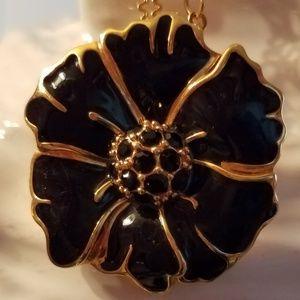 J. Crew Black Enamel and Rhinestone Gold Necklace